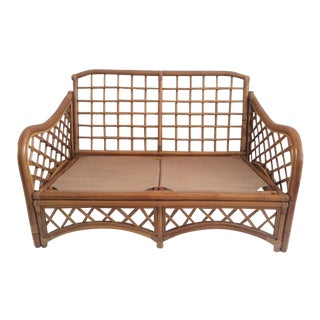Vintage Natural Honey Finish Rattan Loveseat