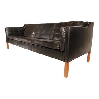 Sofa in Black Leather by Borge Mogensen 1962 For Sale