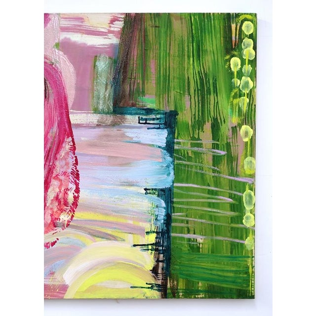 Molly Herman creates beautiful, colorful abstract paintings. This pink and green work is a prime example. She currently...