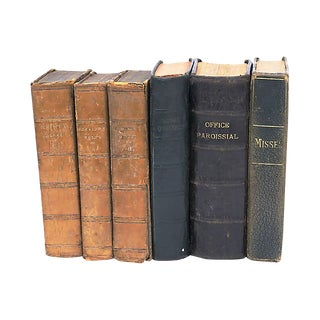 Antique Mixed French Leather Books - Set of 6