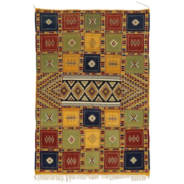 Berber Moroccan Kilim Rug with High-Low Pile, Flat-Weave Rug with Tribal Style For Sale In Dallas - Image 6 of 8