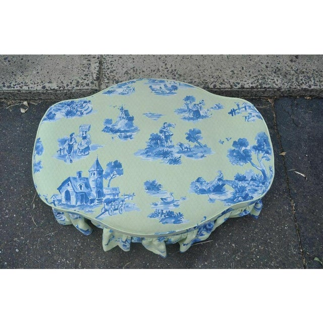 Blue Drexel Heritage Vera Bradley Rolled Arm French Country Club Chair & Ottoman For Sale - Image 8 of 13