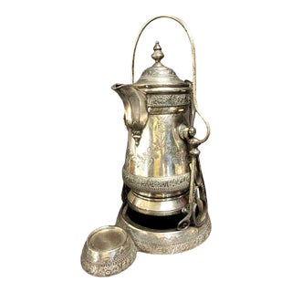 1879 Engraved Wilcox Quadruple Silver Plate Insulated Tilting Water Lemonade Pitcher on Stand For Sale