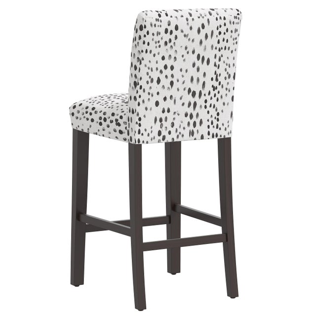 Bar stool in Linen Leopard Ink For Sale - Image 4 of 8