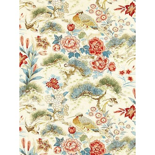 Scalamandre Shenyang Linen Print Fabric, Sandalwood For Sale