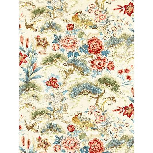 Scalamandre Shenyang Linen Print Fabric, Sandalwood For Sale