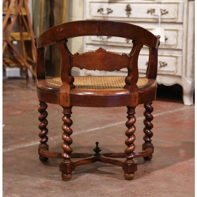 19th Century French Louis XIII Carved Oak Barley Twist and Caning Desk Armchair For Sale - Image 10 of 12
