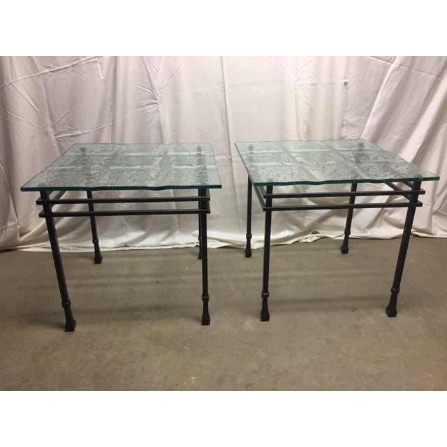Charleston Forge Custom Glass/Iron End Tables - a Pair For Sale In Baltimore - Image 6 of 6