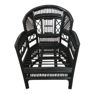 1970s Chinoiserie Brighton Pavillion Black Rattan Chair For Sale