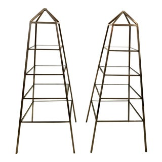 1960s Brass Italian Obelisk Shaped Etageres - a Pair For Sale