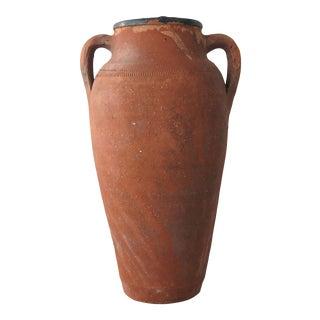 Turkish Tall Terracotta Handled Jar For Sale