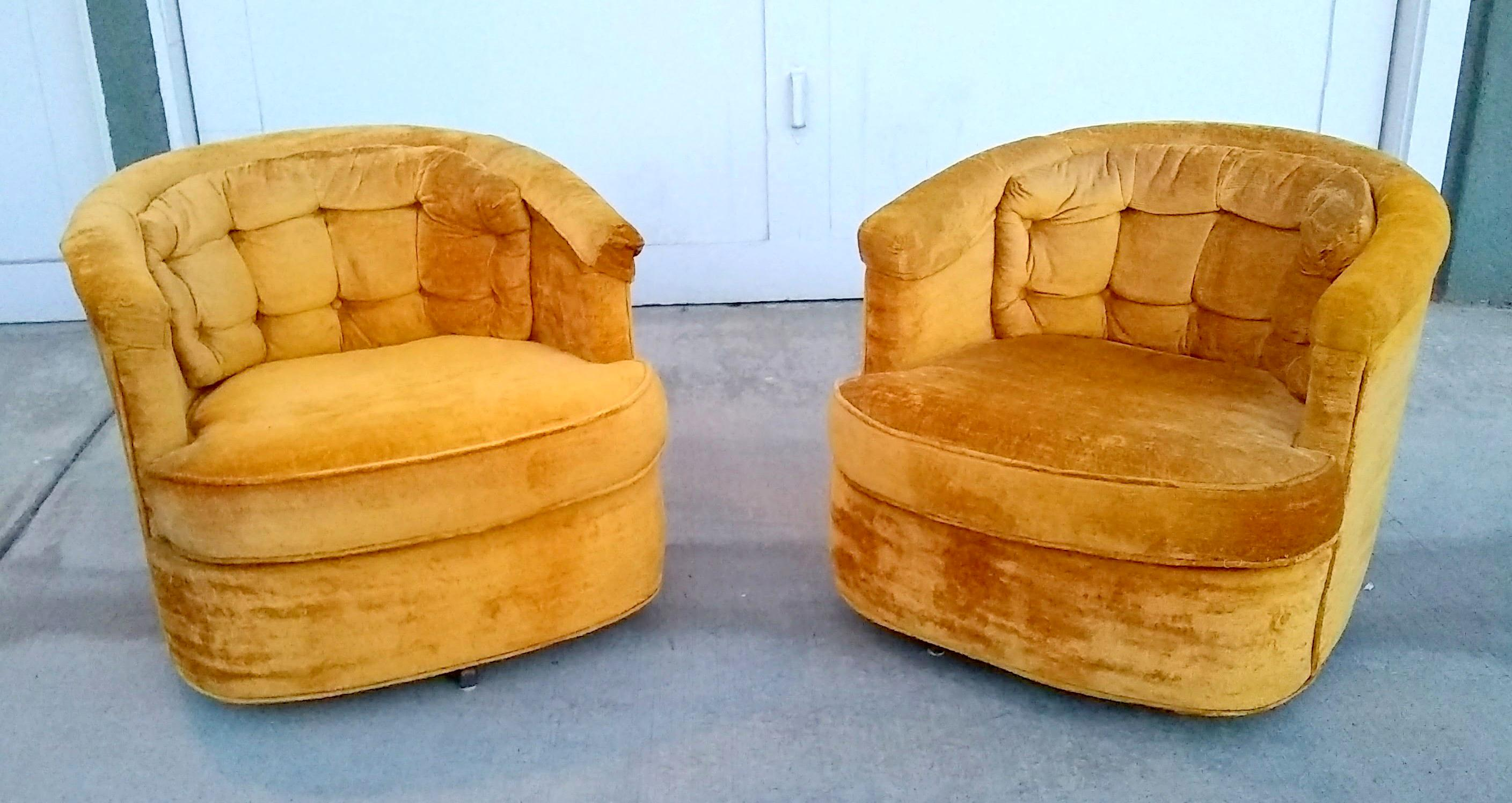 Pair Of Mid Century Petite Swivel Tub Chairs Made By R.B. Furniture Of  Pasadena Circa 1971