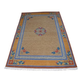 "Tibetan Handwoven Traditional Tan Area Rug - 72"" x 108"" For Sale"