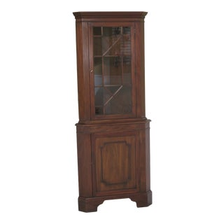 1970s Traditional Henkel Harris Model Mahogany Corner China Cabinet For Sale