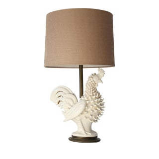 Italian Ceramic Rooster Lamp For Sale