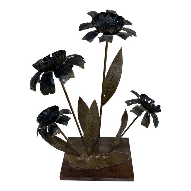 Metal Brutalist Floral Sculpture For Sale