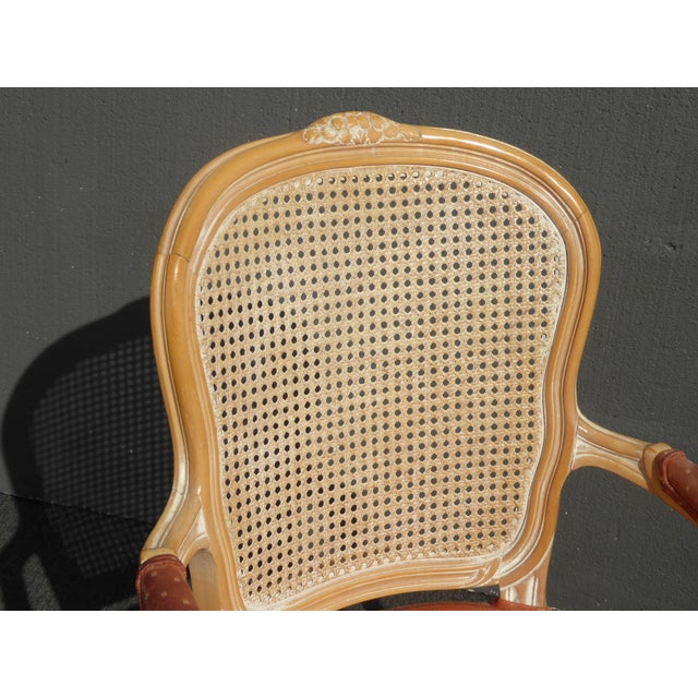 1990s Vintage French Provincial Cane Back Off White Accent Chair W Peach Fabric For Sale - Image 5 of 11