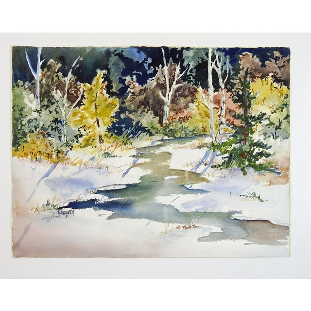 Country Sunlit Forest Stream Watercolor Painting For Sale - Image 3 of 4