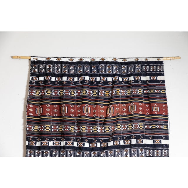 Made in Saharan Mali. Tribal handwoven wool and cotton. Used here as a decorative wall hanging.