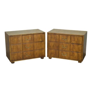 Henredon Campaign Style Cabinets Chests - A Pair For Sale