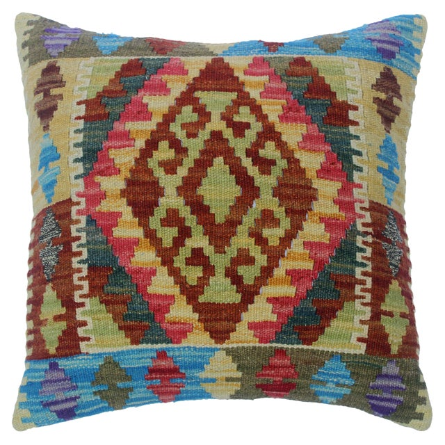 "Chery Gold/Lt. Blue Hand-Woven Kilim Throw Pillow(18""x18"") For Sale"