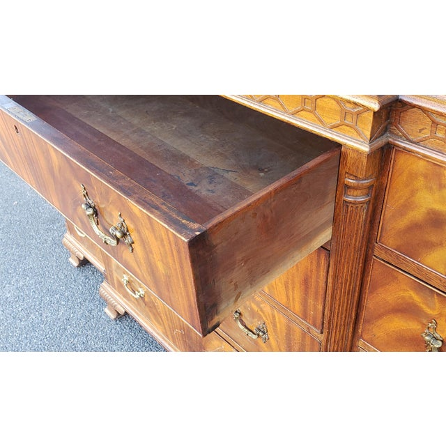Antique 1920s W&j Sloane Flame 12 Drawer Mahogany Dresser ~ Hallway Cabinet For Sale - Image 9 of 13