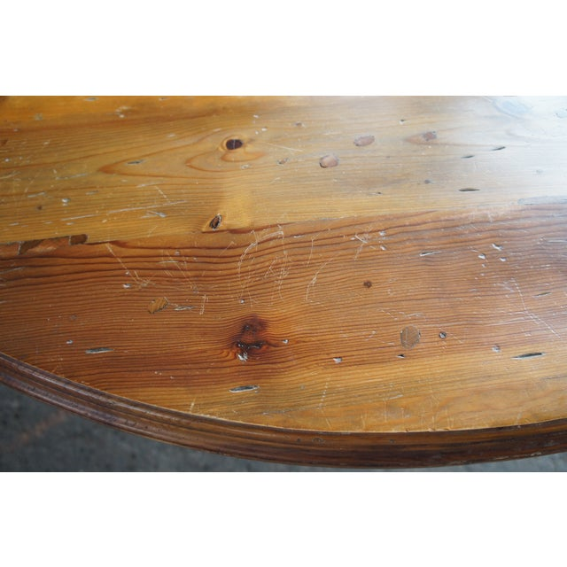 Ralph Lauren Rustic Ralph Lauren Distressed Pine Pedestal Table For Sale - Image 4 of 13