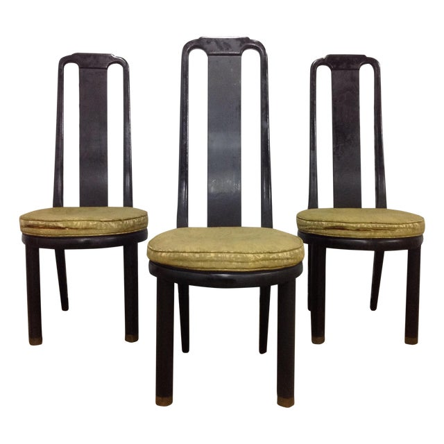 Asian Modern Black Lacquer Chair by Henredon - Image 1 of 9