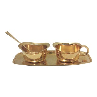 Tommi Parzinger Style Gold Plated Creamer and Sugar Bowl Set-Four Pieces