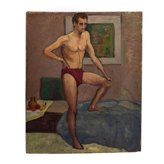 Vintage Male Swimsuit Double Sided Oil Painting For Sale