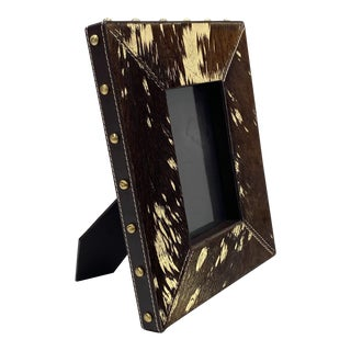 Vintage Hollywood Regency Cowhide and Gold Metallic Picture Frame For Sale