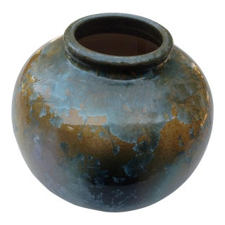 Vintage California Pottery Blue Crystalline Vase For Sale