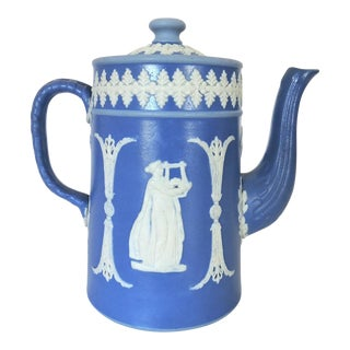 Antique Dudson Brothers Blue and White Jasper Ware Coffee Pot, England Circa 1900 For Sale