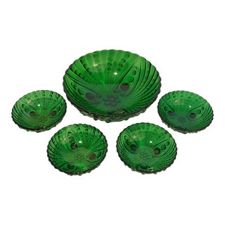 Anchor Hocking Forest Green Burple Desert Set - Set of 5