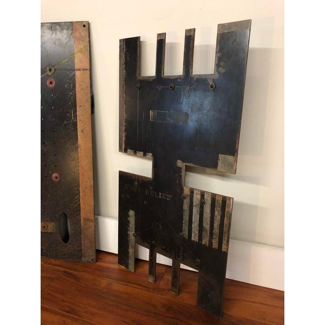 Black Vintage Sheet Metal Industrial Artworks - a Pair For Sale - Image 8 of 13