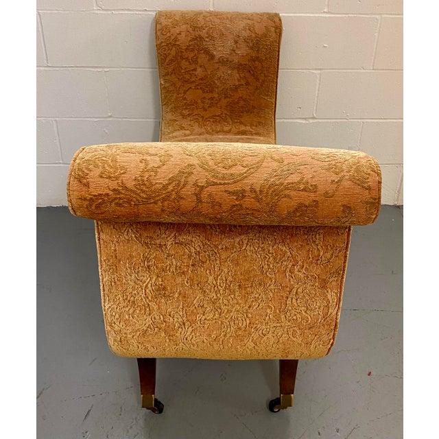 Swaim 1980s Vintage Swaim Regency Peach Velvet Damask Upholstered Scroll Arm Curvy High Side Bench on Casters For Sale - Image 4 of 12