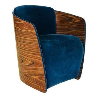 1960s Vintage Walnut Barrel Back Velvet Tub Chair For Sale