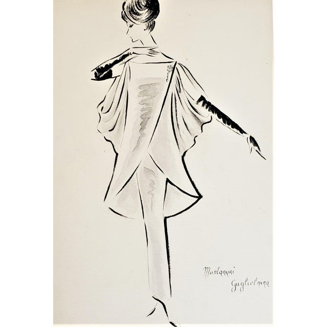 1960s Matted 1960s Mid-Century Italian Fashion Drawing in Watercolor For Sale - Image 5 of 5