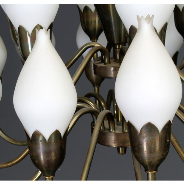 Brass Large Chandelier with Glass Lampshades by Fog & Mørup, 1960s For Sale - Image 7 of 11