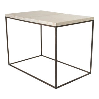 Rectangular Brass & Travertine Table