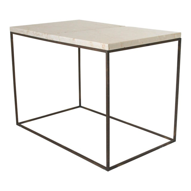 Rectangular Brass & Travertine Table For Sale