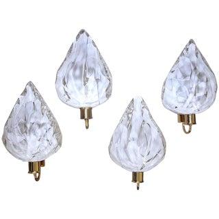 La Murrina Murano White and Clear Glass Leaf Wall Sconces - Set of 4