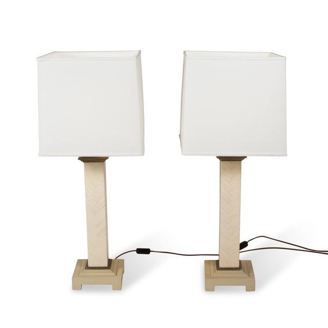 Maitland-Smith Chevron Column Lamps - A Pair - Image 7 of 8
