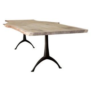 Live Edge White Oak Wood Dining Table With Cast Black Steel Pedestal Wishbone Base For Sale