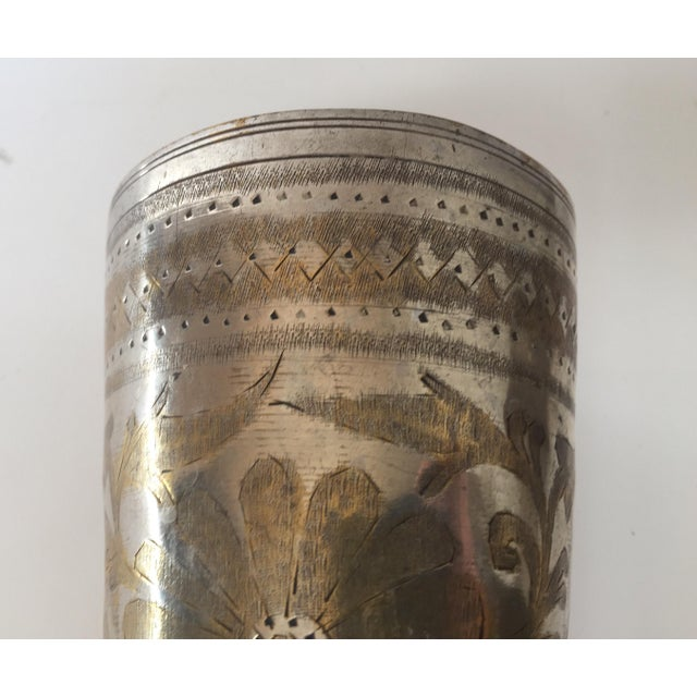 Anglo Raj Mughal Brass Engraved Beakers - Set of 2 For Sale In Los Angeles - Image 6 of 12