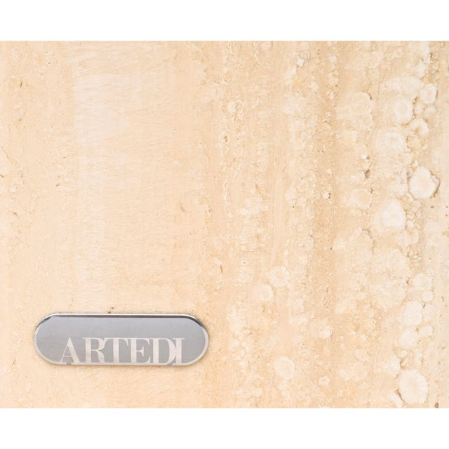 Artedi Travertine Marble Occasional Tables, Pair For Sale - Image 9 of 10