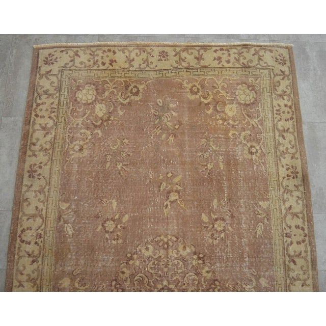 1970s Vintage Turkish Hand Knotted Area Rug Distressed and Faded Colors - 5′1″ × 8′4″ For Sale - Image 5 of 9