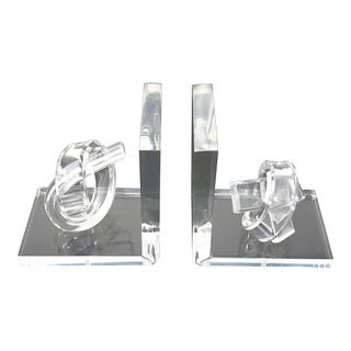 Hollywood Regency Knotted Lucite Bookends For Sale