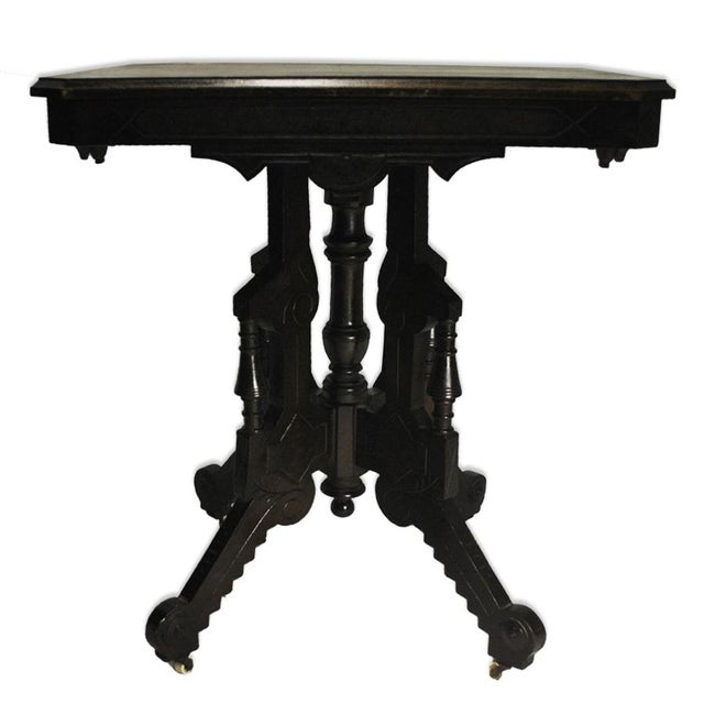 Exceptional Antique Eastlake Victorian Heavily Carved Walnut Parlor Side Table - Image 2 of 9