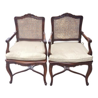 20th Century French Walnut Caned Chairs - a Pair